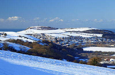 Pendinas in the snow