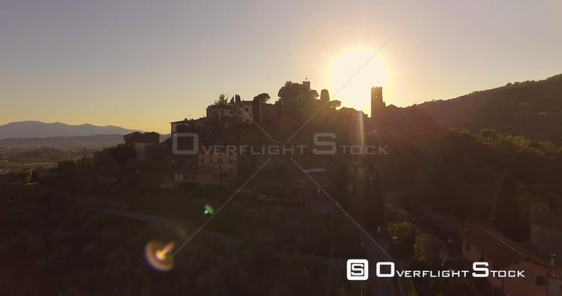 Drone Video Ancient Tuscan Town on the Hill in the Sunset light in Italy