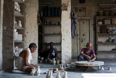 India - Jaipur - Artisan Potters at work at a factory in Sanganer