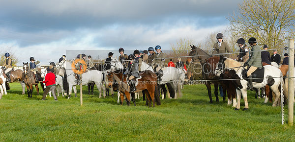 Pony Club members at the meet - The Quorn Hunt at Woodpecker Farm