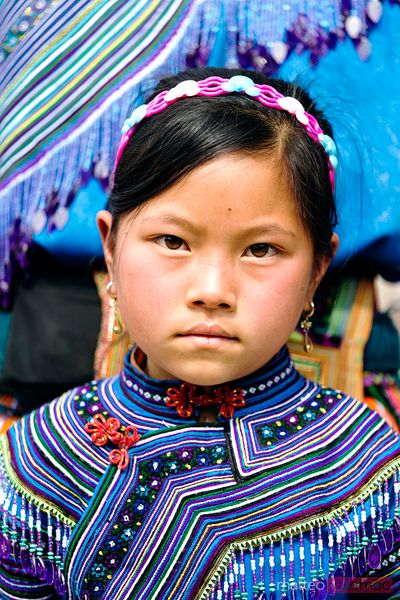 Flower hmong young girl portrait, Bac Ha, Vietnam
