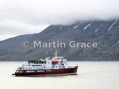 Cruise vessel MV Polar Star on July 4 2010 in Adventfjorden, Nordenskiold Land, Spitsbergen, Svalbard
