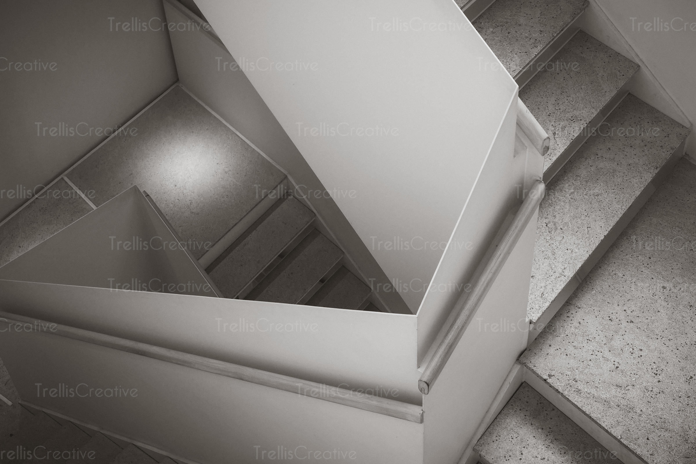 Aerial view of staircase in black and white