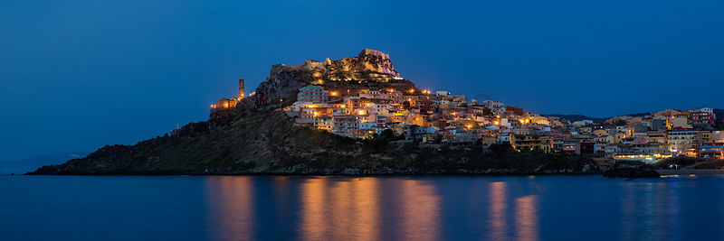 Skyline of the City and Fort of Castelsardo at Dusk