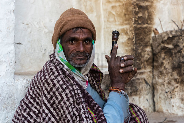 Portrait of a Marwari Man with his Morning Pipe