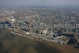 Liverpool high level view of Pier Head Three Graces Mann Island and the Princes Dockland developments of the Port of Liverpoo...