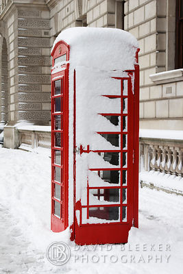 London Phone Box in the snow