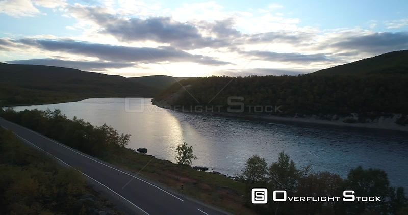 Autumn Road, Aerial 180 Degree Pan View of Tenojoki River at the Border Between Norway and Utsjoki Town, on a Sunny Autumn Ev...