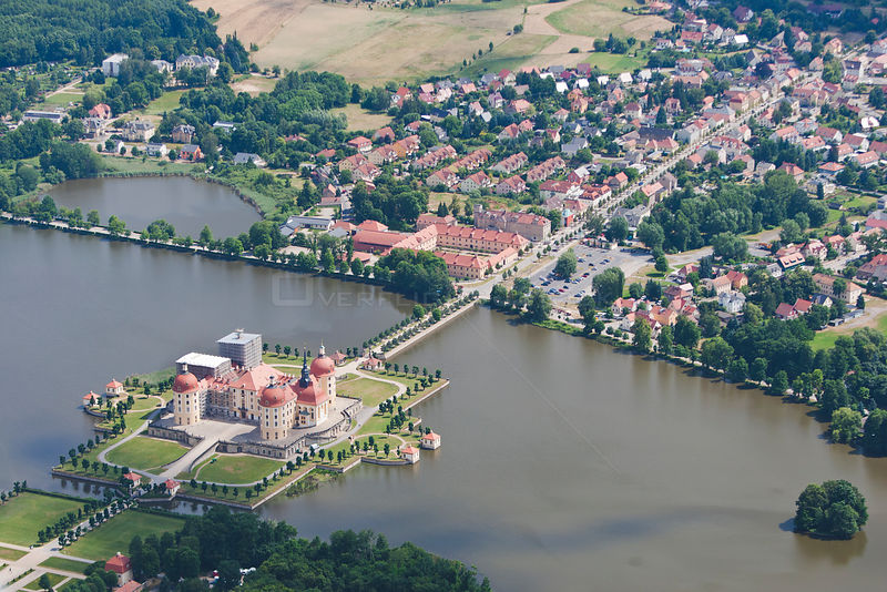 Aerial view of Moritzburg Castle, baroque style, near Dresden, Saxony, Germany, July 2010