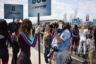 Amongst the grid girls at the Silverstone 500 - the third round of the British GT Championship 2014 - 1st June 2014