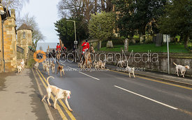 The Cottesmore hounds leaving Uppingham