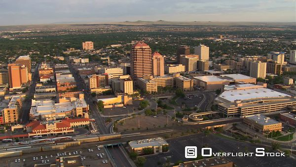 Flying past downtown Albuquerque in afternoon light.