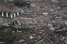 Rochdale aerial photograph of the Town centre showing the construction of the new library and transport interchange