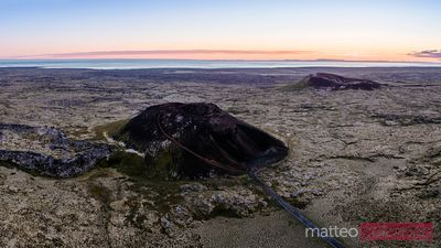 Aerial pano view of Saxholl volcano, Snaefellsnes, Iceland