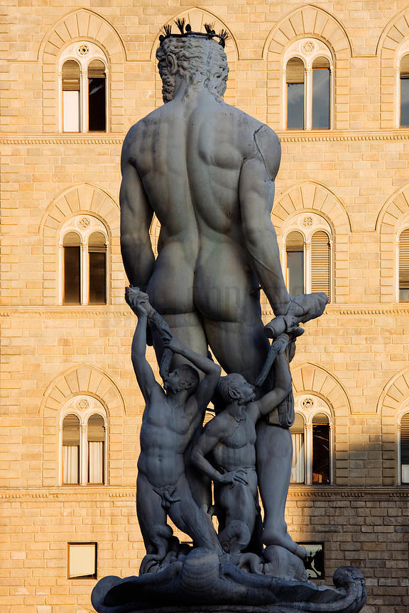 Rear View of Sculpture of Neptune