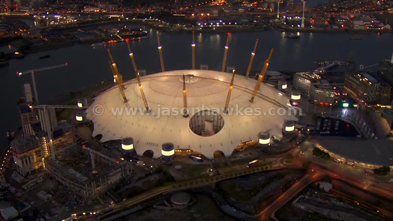 Aerial footage of the O2 Arena at night, Greenwich Peninsula, London