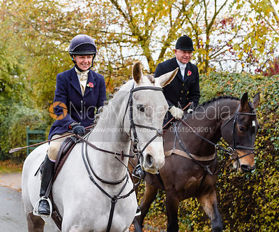 Lizzie Lomas, James Mossman leaving the meet. The Cottesmore Hunt at Braunston