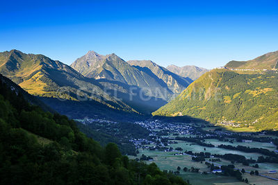 Saint Lary Soulan city and ski station, and his valley with first lights of the day