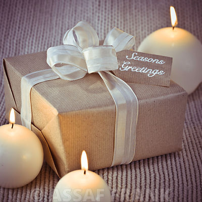 Christmas gift boxe with candles