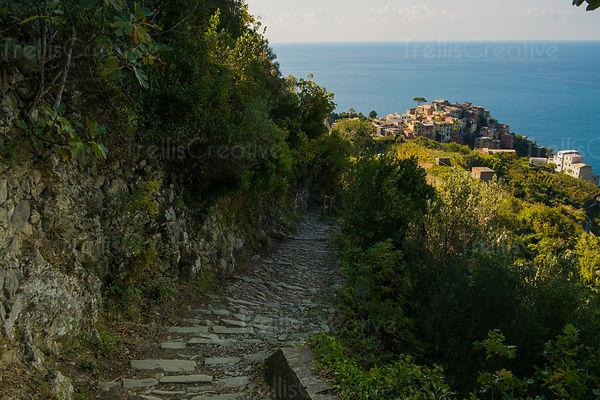 Hiking path to the town of Corniglia in Cinque Terre