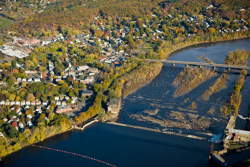 Aerial view of Holyoke Dam and the Connecticut River as it flows through South Hadley, Massachusetts, USA, November 2007