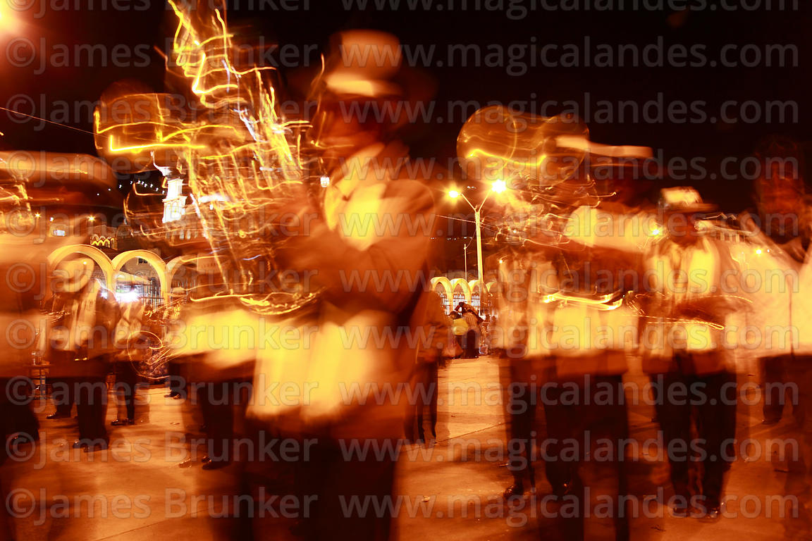 Brass band at night, Chutillos festival, Potosí, Bolivia