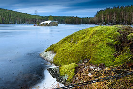 A big rock overgrown by moss at a frozen lake