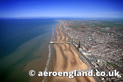 aerial photograph of  the golden mile beach at Blackpool  Lancashire England