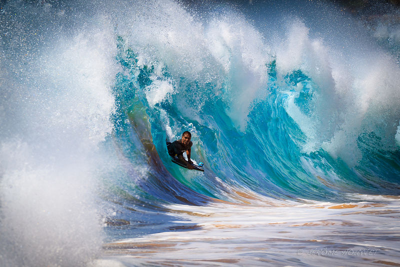 Boogie board dans le shorebreak de Makena