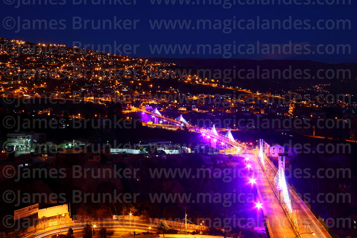 Illuminations on Triple Bridge / Puente de los Trillizos at night , La Paz , Bolivia