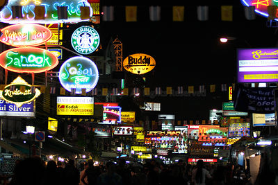 Night at khao san road thailand