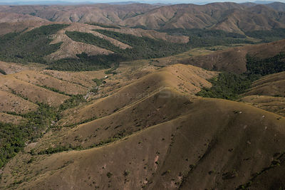 Aerial view of Kupinang, farming slopes, Potaro-Siparuni Region, Brazil Guyana border, South America