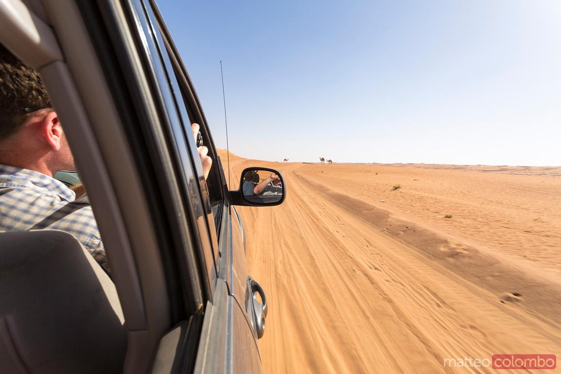 Tourist on a four wheel drive vehicle, Wahiba Sands desert, Oman
