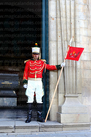 Guard outside entrance to cathedral side chapel that contains the tomb of Mariscal Andrés de Santa Cruz, Plaza Murillo, La Pa...