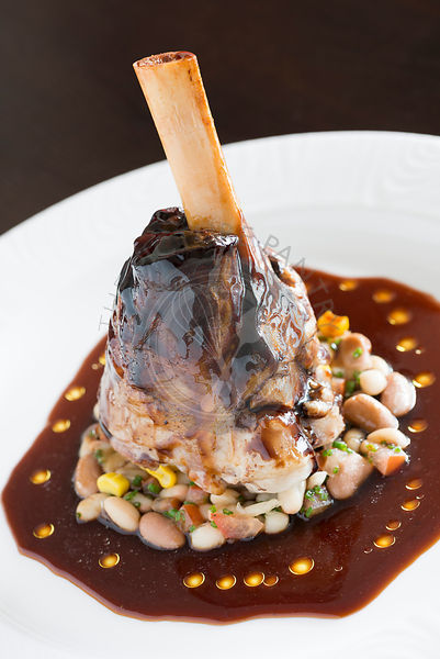 Lamb shank food from a fine dining restaurant