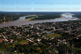 Aerial view of Rurrenabaque and River Beni , Bolivia