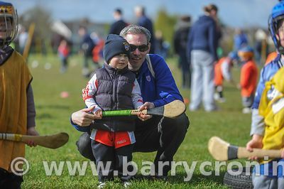 21st April, 2012. Castleknock GFC football nursery, Carpenterstown, Dublin. Pictured is Reuben and Dad Niall Lavery. Photo:Ba...