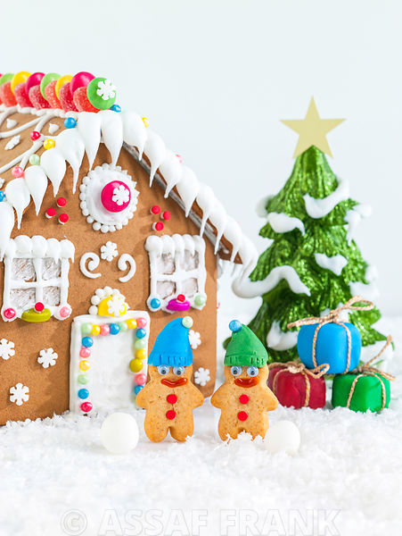 Christmas theme made with gingerbread house and decoratives