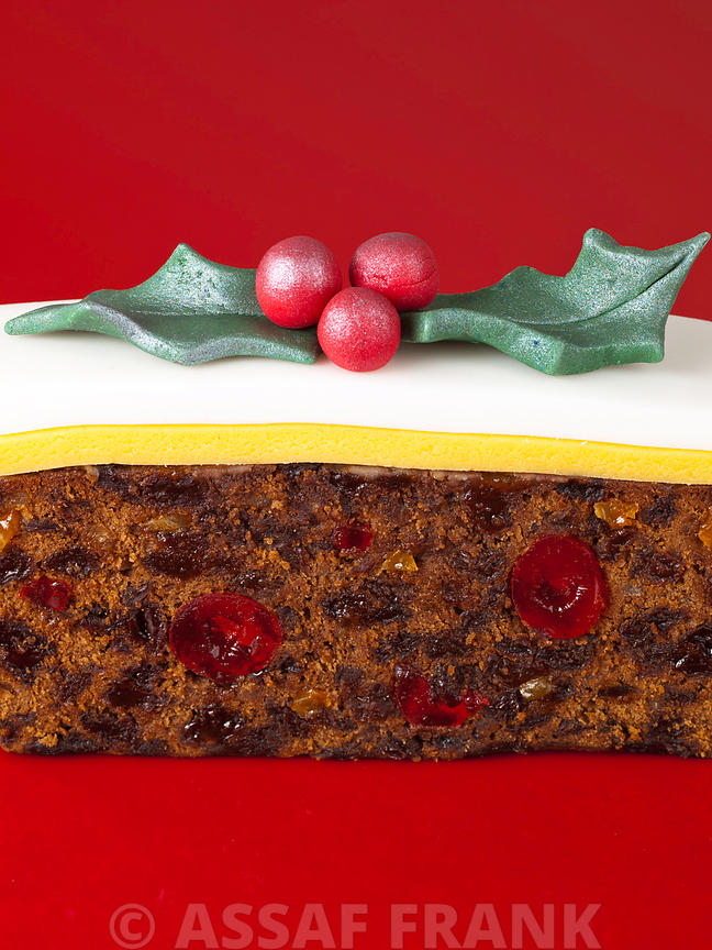 Christmas cake with holly decoration