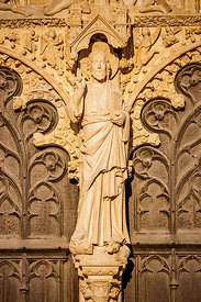 Christ statue on Saint Etienne cathedral portal, Bourges