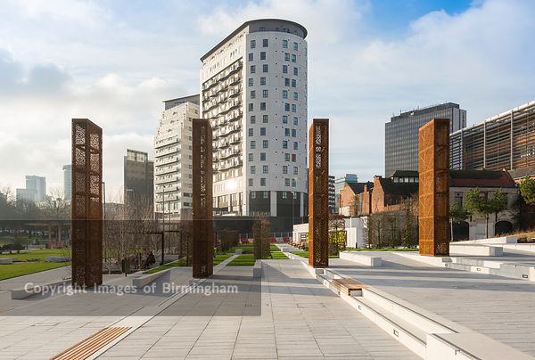Eastside City Park is a 6.75 acre (2.73 ha) urban park located in the Eastside district of Birmingham City Centre. England, UK. Also pictured are the Masshouse and Hive apartment buildings.