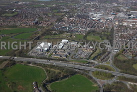 Bury aerial photograph of Waterfold Business Park and Waterfold Park Rochdale Road Junction 2 M66 motorway