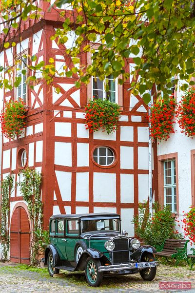 Old classical car in front of house, Rudesheim, Germany