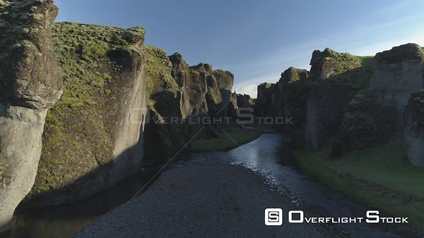 Fjadragljufur Glacial River Canyon Iceland, Morning Light Aerial Revealing Shot