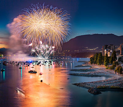 Celebration of Light Fireworks seen from Burrard Bridge