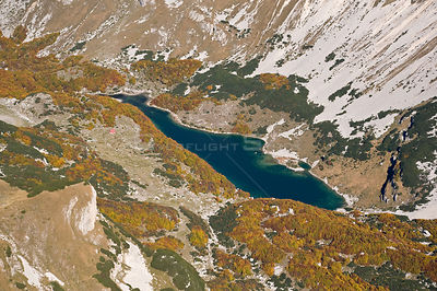 Aerial view of Skrcko Lake, Durmitor NP, Montenegro, October 2008
