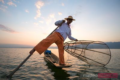 Fisherman at sunset, Inle lake, Myanmar