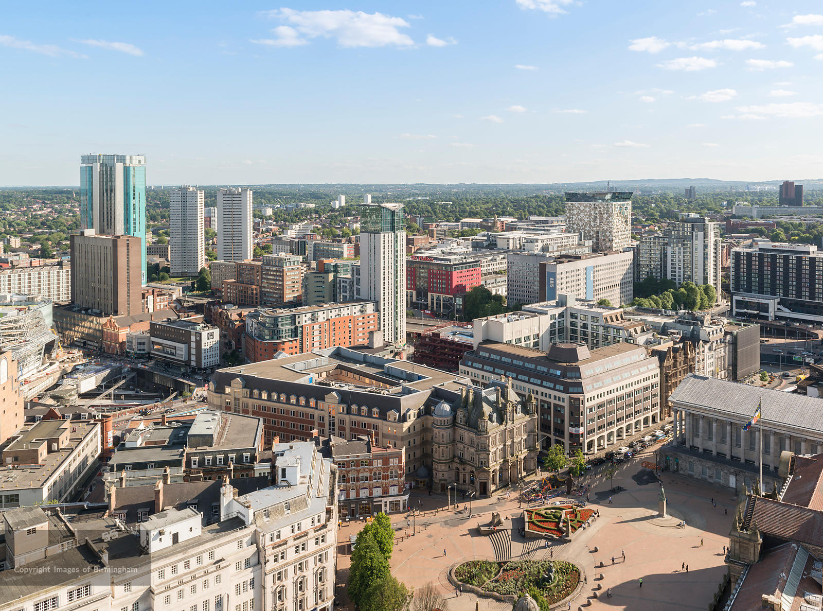 Victoria Square and a cityscape of Birmingham, England