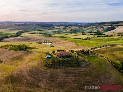 Aerial view of farmhouse and fields, Tuscany, Italy