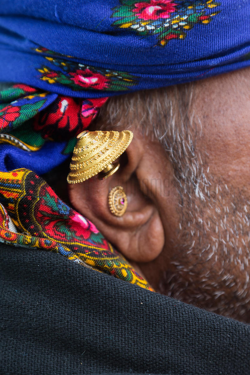 Detail of an Earing Worn by the Bharwad Tribe
